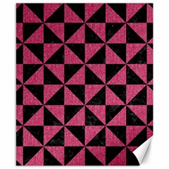 Triangle1 Black Marble & Pink Denim Canvas 8  X 10  by trendistuff