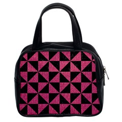 Triangle1 Black Marble & Pink Denim Classic Handbags (2 Sides) by trendistuff