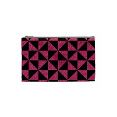 Triangle1 Black Marble & Pink Denim Cosmetic Bag (small)  by trendistuff