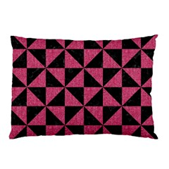 Triangle1 Black Marble & Pink Denim Pillow Case (two Sides) by trendistuff