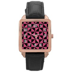 Triangle1 Black Marble & Pink Denim Rose Gold Leather Watch  by trendistuff