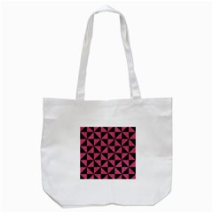 Triangle1 Black Marble & Pink Denim Tote Bag (white) by trendistuff