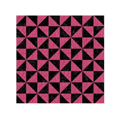 Triangle1 Black Marble & Pink Denim Small Satin Scarf (square)