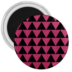Triangle2 Black Marble & Pink Denim 3  Magnets by trendistuff