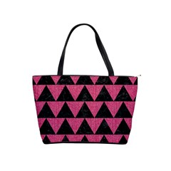 Triangle2 Black Marble & Pink Denim Shoulder Handbags by trendistuff