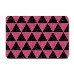 Triangle3 Black Marble & Pink Denim Small Doormat  by trendistuff