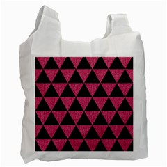 Triangle3 Black Marble & Pink Denim Recycle Bag (one Side) by trendistuff