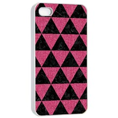 Triangle3 Black Marble & Pink Denim Apple Iphone 4/4s Seamless Case (white) by trendistuff