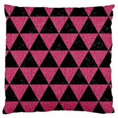 Triangle3 Black Marble & Pink Denim Large Cushion Case (one Side) by trendistuff