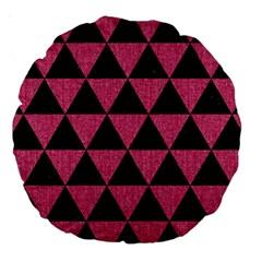 Triangle3 Black Marble & Pink Denim Large 18  Premium Round Cushions by trendistuff