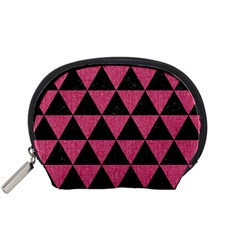 Triangle3 Black Marble & Pink Denim Accessory Pouches (small)  by trendistuff