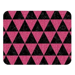 Triangle3 Black Marble & Pink Denim Double Sided Flano Blanket (large)  by trendistuff