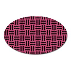 Woven1 Black Marble & Pink Denim Oval Magnet by trendistuff