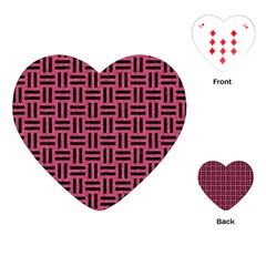 Woven1 Black Marble & Pink Denim Playing Cards (heart)  by trendistuff