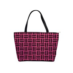 Woven1 Black Marble & Pink Denim Shoulder Handbags by trendistuff