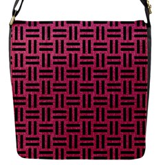 Woven1 Black Marble & Pink Denim Flap Messenger Bag (s) by trendistuff