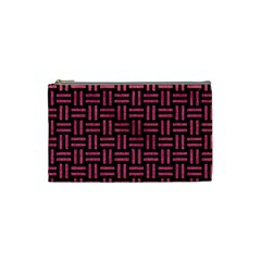 Woven1 Black Marble & Pink Denim (r) Cosmetic Bag (small)  by trendistuff