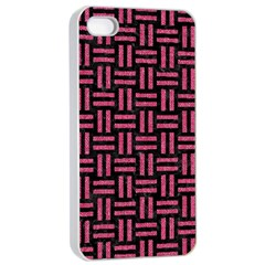 Woven1 Black Marble & Pink Denim (r) Apple Iphone 4/4s Seamless Case (white) by trendistuff