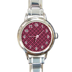 Woven2 Black Marble & Pink Denim Round Italian Charm Watch by trendistuff