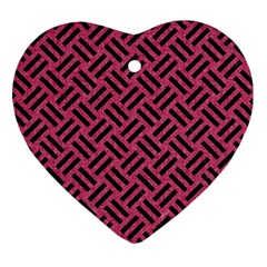 Woven2 Black Marble & Pink Denim Heart Ornament (two Sides) by trendistuff