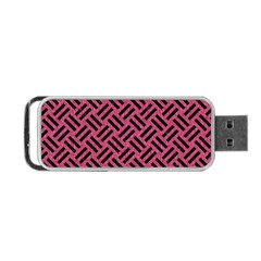 Woven2 Black Marble & Pink Denim Portable Usb Flash (two Sides) by trendistuff