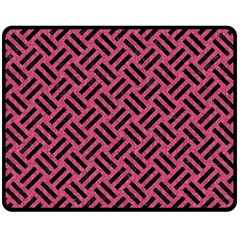 Woven2 Black Marble & Pink Denim Double Sided Fleece Blanket (medium)  by trendistuff