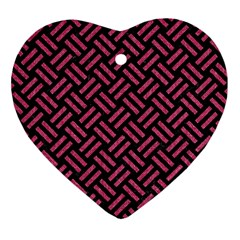 Woven2 Black Marble & Pink Denim (r) Heart Ornament (two Sides) by trendistuff