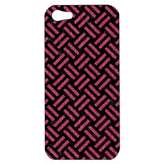 Woven2 Black Marble & Pink Denim (r) Apple Iphone 5 Hardshell Case by trendistuff