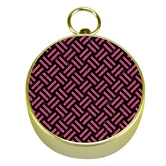 Woven2 Black Marble & Pink Denim (r) Gold Compasses by trendistuff