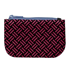 Woven2 Black Marble & Pink Denim (r) Large Coin Purse by trendistuff