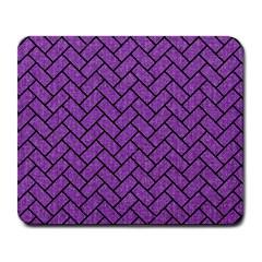 Brick2 Black Marble & Purple Denim Large Mousepads by trendistuff