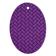 Brick2 Black Marble & Purple Denim Oval Ornament (two Sides) by trendistuff