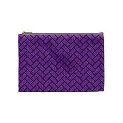 Brick2 Black Marble & Purple Denim Cosmetic Bag (medium)  by trendistuff