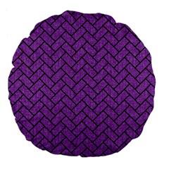 Brick2 Black Marble & Purple Denim Large 18  Premium Flano Round Cushions by trendistuff