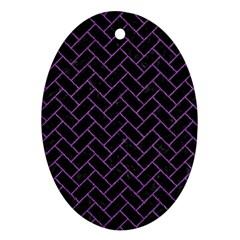 Brick2 Black Marble & Purple Denim (r) Ornament (oval) by trendistuff