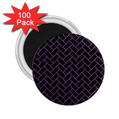 Brick2 Black Marble & Purple Denim (r) 2 25  Magnets (100 Pack)  by trendistuff