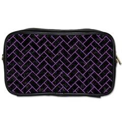 Brick2 Black Marble & Purple Denim (r) Toiletries Bags by trendistuff