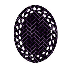 Brick2 Black Marble & Purple Denim (r) Oval Filigree Ornament (two Sides) by trendistuff