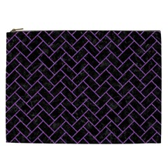 Brick2 Black Marble & Purple Denim (r) Cosmetic Bag (xxl)  by trendistuff