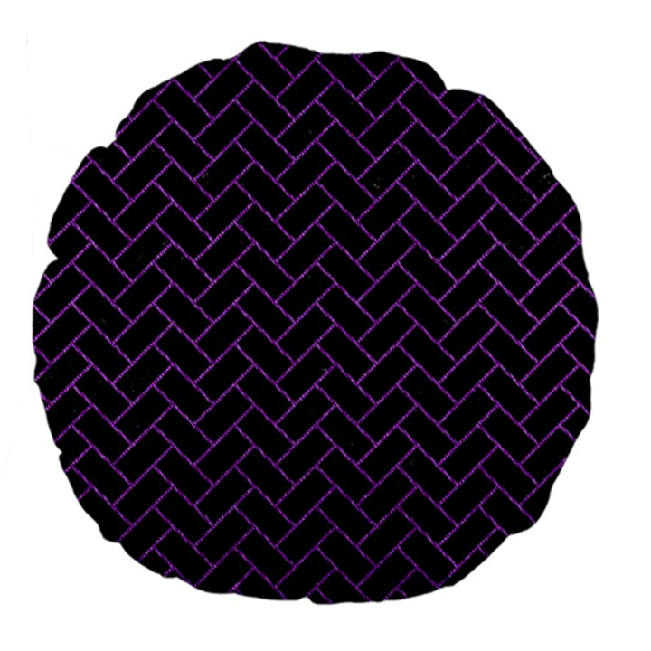 BRICK2 BLACK MARBLE & PURPLE DENIM (R) Large 18  Premium Flano Round Cushions