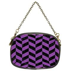 Chevron1 Black Marble & Purple Denim Chain Purses (two Sides)  by trendistuff