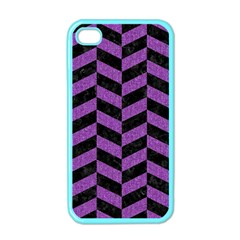 Chevron1 Black Marble & Purple Denim Apple Iphone 4 Case (color) by trendistuff