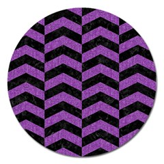 Chevron2 Black Marble & Purple Denim Magnet 5  (round) by trendistuff