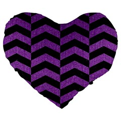 Chevron2 Black Marble & Purple Denim Large 19  Premium Flano Heart Shape Cushions by trendistuff
