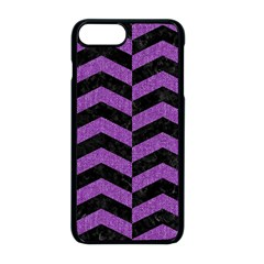 Chevron2 Black Marble & Purple Denim Apple Iphone 8 Plus Seamless Case (black) by trendistuff