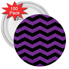 Chevron3 Black Marble & Purple Denim 3  Buttons (100 Pack)  by trendistuff