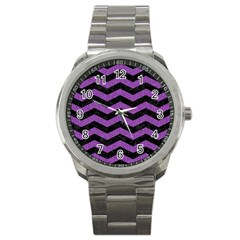 Chevron3 Black Marble & Purple Denim Sport Metal Watch by trendistuff