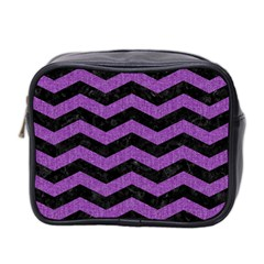 Chevron3 Black Marble & Purple Denim Mini Toiletries Bag 2 Side by trendistuff