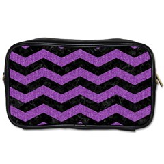 Chevron3 Black Marble & Purple Denim Toiletries Bags 2 Side by trendistuff
