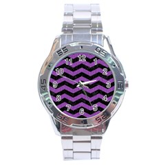 Chevron3 Black Marble & Purple Denim Stainless Steel Analogue Watch by trendistuff